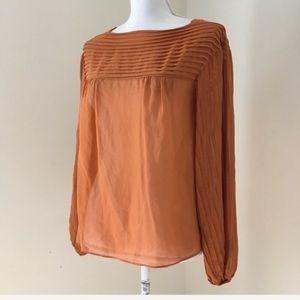 100% Silk Pumpkin orange Pleated Blouse XS